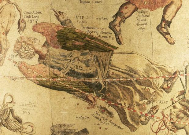 La costellazione della Vergine dal globo celeste di Mercatore